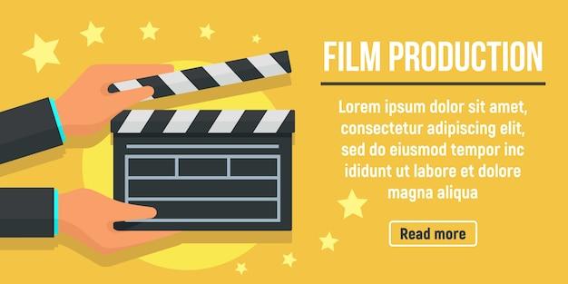 Stad film productie banner, vlakke stijl