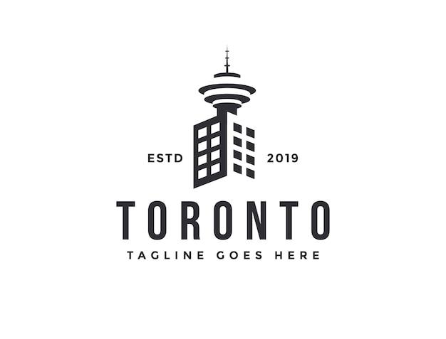 Stad gebouw en toronto tower logo vector pictogrammalplaatje op witte achtergrond