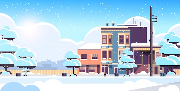 Stad gebouw huizen buitenkant moderne stad besneeuwde straat in winter seizoen zonsondergang sneeuwval stadsgezicht