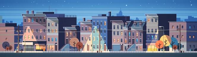 Stad gebouw huizen nacht weergave skyline banner