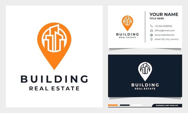 Stad gebouw pin logo-ontwerp, architectuur of constructie ontwerp en visitekaartje sjabloon