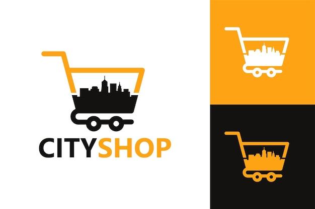 Stad gebouw winkel logo sjabloon premium vector
