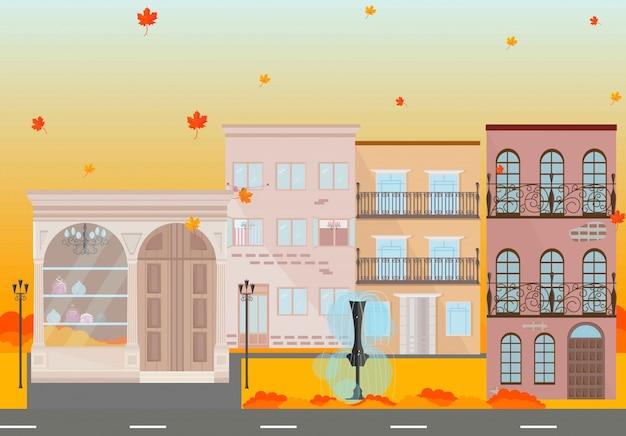 Stad gebouwen in de herfst seizoen vector achtergrond illustratie