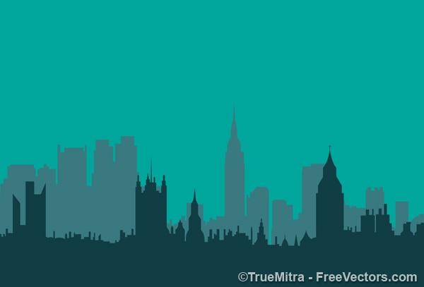 Stad gebouwen in de nacht