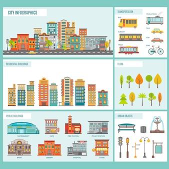Stad gebouwen infographics