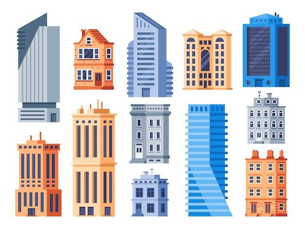 Stad gebouwen. stedelijke kantoor exterieur, wonen woningbouw en appartement huis geïsoleerde pictogrammen instellen