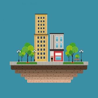 Stad gebouwen winkels blauwe achtergrond