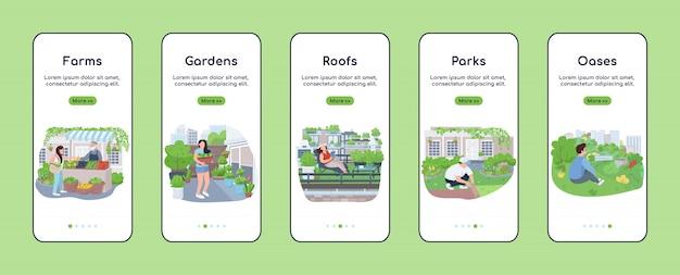 Stad groene zones onboarding mobiele app scherm platte sjabloon. stadslandbouw. walkthrough website stappen met karakters. ux, ui, gui smartphone cartoon-interface, case prints ingesteld