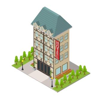 Stad hotel gebouw isometrische weergave recreatie toerisme stedelijke architectuur moderne exterieur gevel voor web. vector illustratie