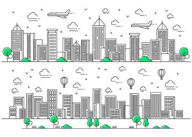Stad illustratie in lijnstijl met vliegtuigen en vliegende ballonnen