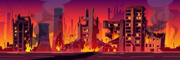 Stad in brand, oorlog vernietigt brandende kapotte gebouwen
