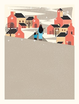Stad in de winter, moeder en zoon houden hun handen vast en lopen op straat