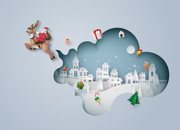 Stad in kerstmis in papier gesneden stijl