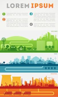 Stad infographics. skyline districten gekleurde sets