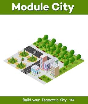 Stad isometrisch van stedelijke infrastructuurzaken. vector