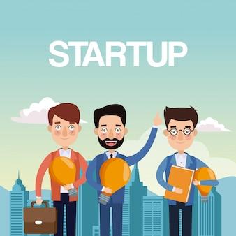 Stad landschap achtergrond teamwerk zakenlieden met gloeilamp en portefeuille ster omhoog
