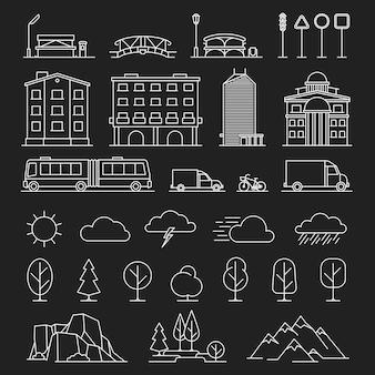 Stad landschap lijn pictogrammen