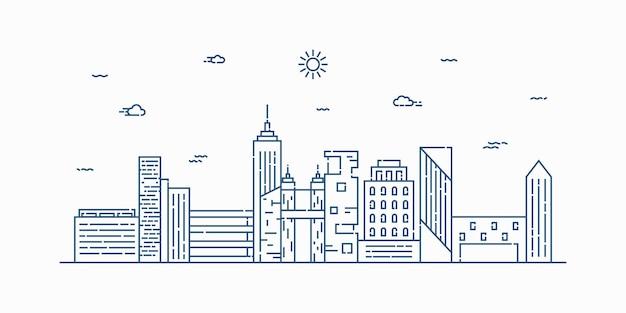 Stad landschap lijntekeningen. dunne lijn stadsgezicht met gebouw, wolken, zon.