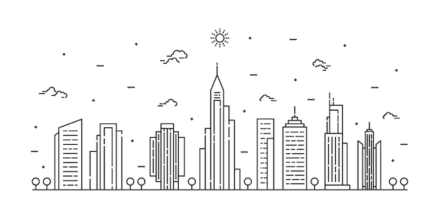 Stad landschap lijntekeningen