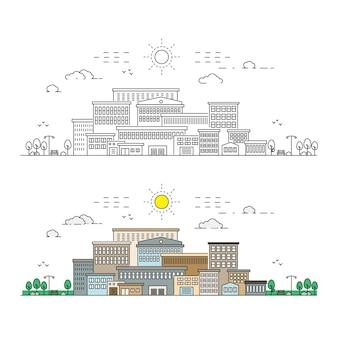 Stad lijn illustratie met egale kleur concept