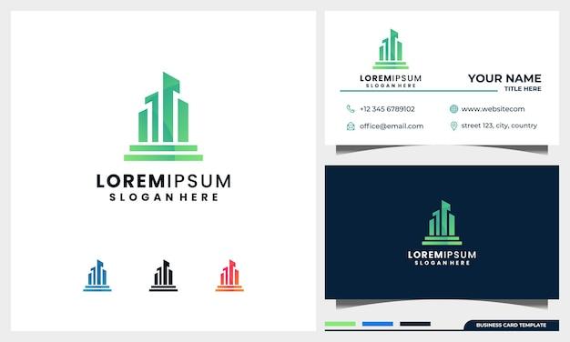 Stad logo ontwerp met sjabloon voor visitekaartjes
