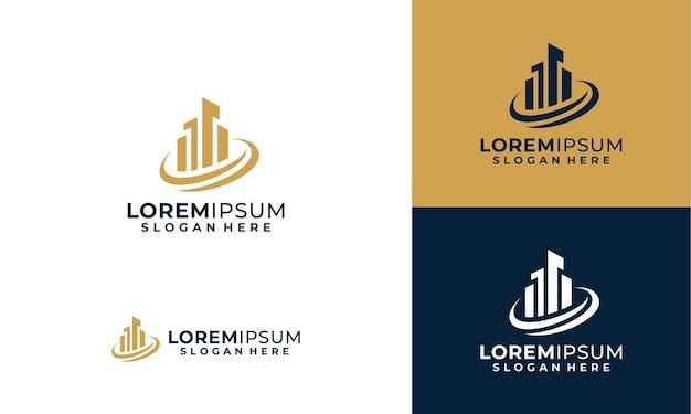 Stad logo ontwerpsjabloon met sjabloon voor visitekaartjes