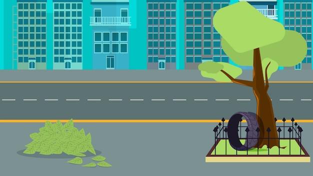 Stad met boom en gestapelde vellenachtergrond