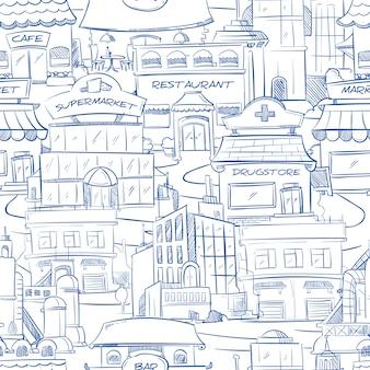 Stad met hand getrokken gebouwen