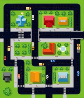 Stad met huizen
