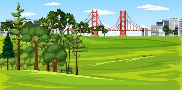 Stad met landschapsscène van het natuurpark