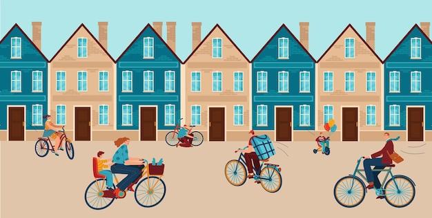 Stad met mensen rijden fiets vector illustratie platte man vrouw karakter gebruik fiets in de buurt van stedelijk gebouw buiten zomersport op stadsgezicht weg
