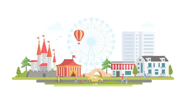 Stad met pretpark - moderne platte ontwerp stijl vectorillustratie op stedelijke achtergrond. prachtig uitzicht met circus, groot wiel, hor luchtballon, brug, kasteel, huizen, mensen. entertainmentconcept