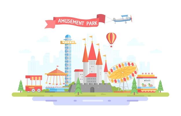 Stad met pretpark - moderne platte ontwerp stijl vectorillustratie op stedelijke achtergrond. teken op rood lint. prachtig uitzicht met draaimolen, kasteel, vliegtuig. entertainmentconcept
