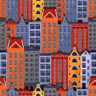 Stad naadloze patroon. europese huizen en gebouwen. platte stijl. felle kleuren. creatieve dak en windows. vector illustratie.