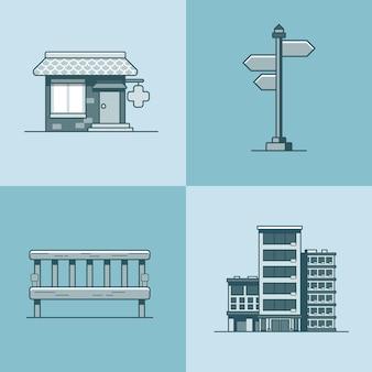 Stad object bank uithangbord architectuur apotheek drogisterij hotelgebouw set