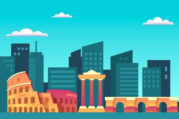 Stad oriëntatiepunten achtergrond ontwerp