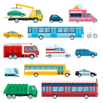 Stad personenauto ambulance vrachtwagen fiets taxi politie auto schoolbus brandweerwagen voertuig vector set