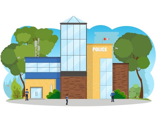 Stad politiebureau afdeling gebouw in landschap.