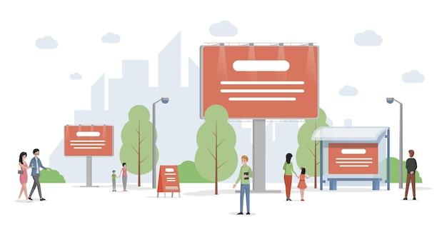 Stad reclame vector platte illustratie stedelijke stadsgezicht met billboards en