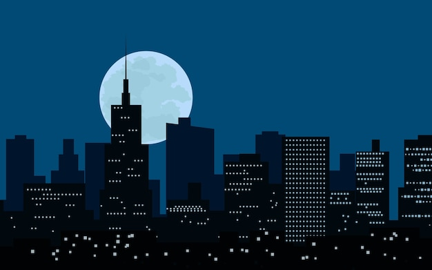 Stad 's nachts met volle maan