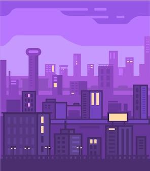 Stad scape vector illustratie. vectorstad scape en purpere achtergrond