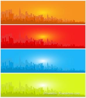 Stad silhouetten van de vier banners