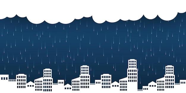 Stad skyline landschap achtergrond met regen illustratie sjabloonontwerp