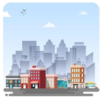 Stad stadsgebouw illustratie landschap blauwe hemel achtergrond