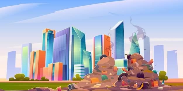Stad stortplaats met stapel vuilnis, vuile autokerkhof