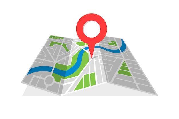 Stad straat cartografie gevouwen kaart met navigatie locatie pin pointer. het vinden van de weg richting concept vectorillustratie
