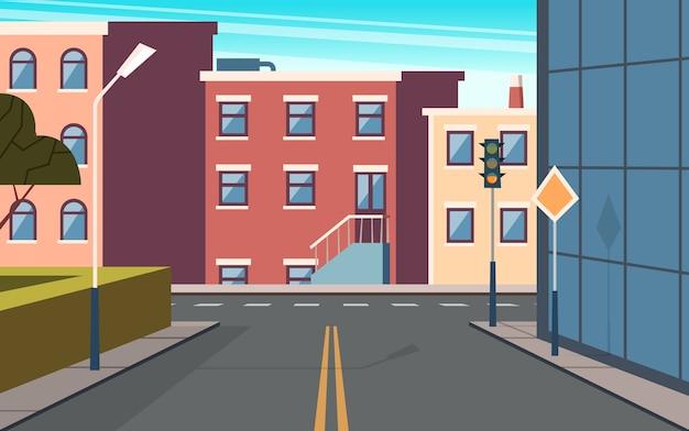 Stad straat cartoon. stedelijke structuur gebouwen kruispunt panoramisch buitenbeeld