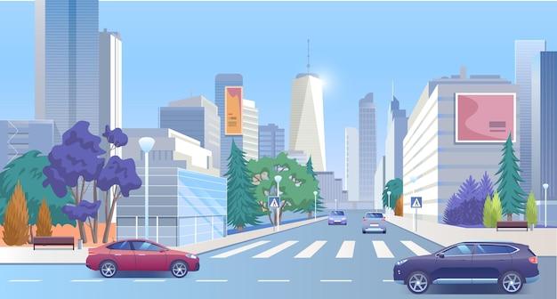 Stad straat centrum stedelijke panoramische stadsgezicht