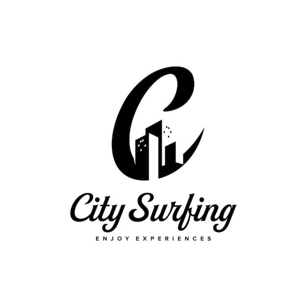 Stad surfen letter c logo ontwerp