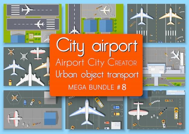 Stad terminal luchthaven plan bovenaanzicht set